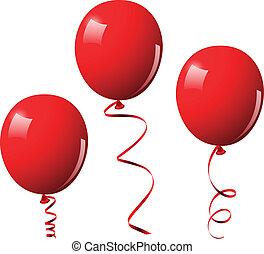 vektor, léggömb, ábra, piros