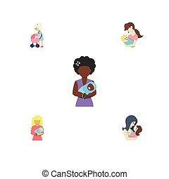 vektor, lakás, állhatatos, elements., szülő, gyermek, szülő, csecsemő, beleértve, újszülött, is, más, dada, mam, objects., ikon