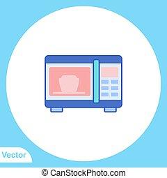 vektor, lakás, aláír, ikon, jelkép, mikrohullám
