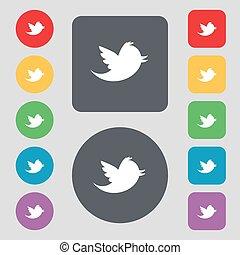 vektor, lakás, buttons., színezett, ikon, cégtábla., üzenet, média, retweet, állhatatos, társadalmi, 12, csicsergés, design.