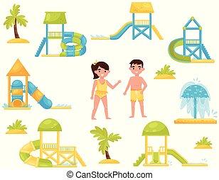 vektor, lakás, különböző, állhatatos, víz, slides., liget, díszkíséretek, víz, dél, gyerekek, equipment., gyerekek, úszás