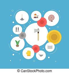 vektor, lakás, kerítés, elements., ikonok, hosepipe, beleértve, jelkép, is, állhatatos, fejsze, objects., sövénykerítés, mezőgazdaság, más, kertész, fruiter