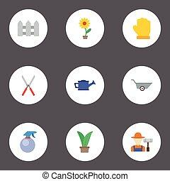 vektor, lakás, kertész, bailer, elements., kertész, ikonok, kertészet, jelkép, is, állhatatos, talicska, olló, objects., beleértve, más, fruiter