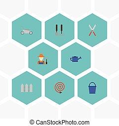 vektor, lakás, pázsit, slag, kert, elements., ikonok, konzerv, locsolás, beleértve, jelkép, is, állhatatos, kaszáló, fű, objects., mezőgazdaság, más, fruiter
