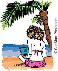 vektor, laptop, nő, tengerpart, ábra