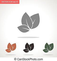 vektor, levél növényen, fehér, ikon, elszigetelt, háttér