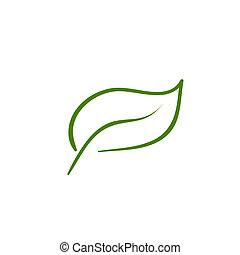 vektor, levél növényen, természet, ikon