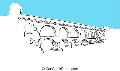 vektor, lineart, avignion, skicc, vízvezeték, franciaország