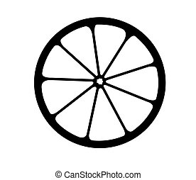 vektor, logo., citrom- és narancsfélék, monochrom, ábra