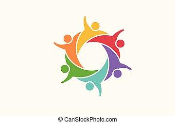 vektor, logo., közösség, ábra, emberek