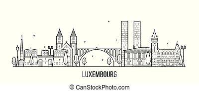 vektor, luxemburg, épület város, láthatár