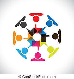 vektor, média, fogalom, &, kommunikáció, kölcsönhatás, társadalmi, graphic-