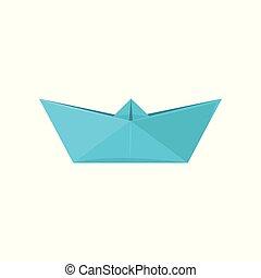 vektor, módszer, ábra, dolgozat, háttér, origami, hajó, elkészített, fehér