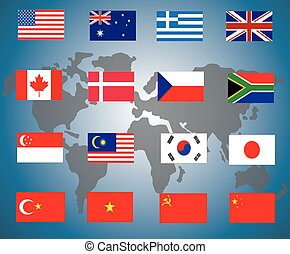 vektor, művészet, elvont, ellen, háttér, zászlók, ábra, világ, fehér