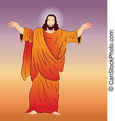 vektor, művészet, krisztus, jézus