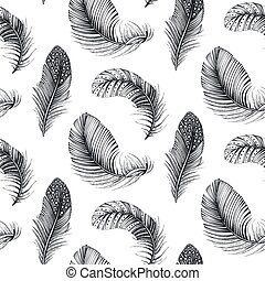 vektor, madár, vég nélküli, feathers., motívum, húzott, kéz, természetes, háttér, seamless