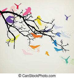 vektor, madarak, elágazik