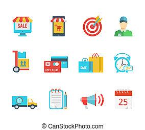 vektor, megvásárol, állhatatos, felszabadítás, ikonok, lakás