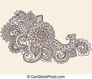 vektor, mehndi, doodles, tetovál, hennabokor