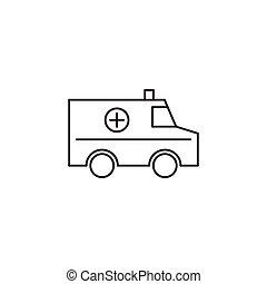 vektor, mentőautó, áttekintés, ábra, ikon