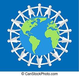 vektor, mindenfelé, világ, ábra, emberek