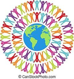 vektor, mindenfelé, világ, ábra, emberek, színes
