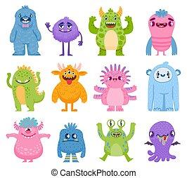 vektor, monsters., teeth., furcsa, barátságos, csinos, characters., szörnyek, szörny, alkotások, csápok, külföldi, mindenszentek napjának előestéje, ijedős, állhatatos, karikatúra
