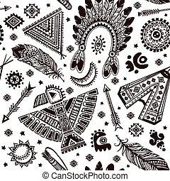 vektor, motívum, seamless, jelkép, american indian, bennszülött