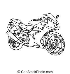 vektor, motobike., karikatúra