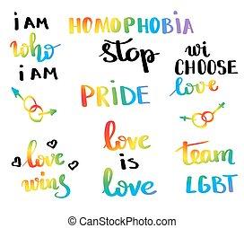vektor, movement., fogalom, szlogen, buzi jó, béke, homoszexualitás, büszkeség, többszínű, lgbt, lobogó, írott, tervezés, belélegzési, emblem., nyomtat, poster., kéz, lettering.
