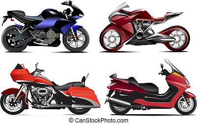 vektor, négy, modern, ábra, motorcycle.