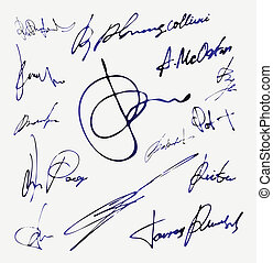 vektor, név, autogram, aláírás