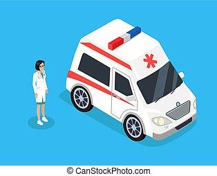 vektor, nő, mentőautó, ábra, orvos