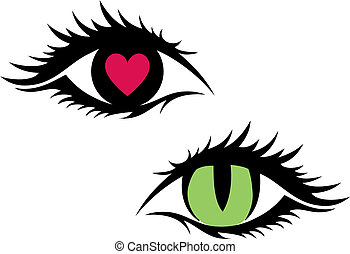 vektor, női, szemek