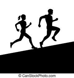 vektor, nők, futás, férfiak, silhouette.