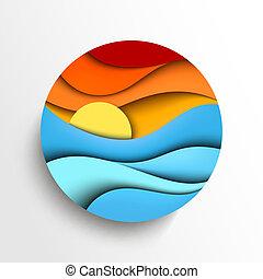 vektor, napnyugta, sea., ábra, ikon