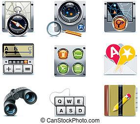 vektor, navigáció, icons., p.2, gps