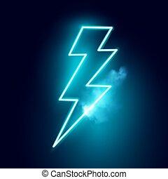 vektor, neon, csavar, villámlás, elektromos
