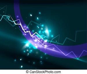 vektor, neon, háttér, villámlás