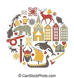 vektor, norvégia, városnézés, norvég, iránypont, ikonok, utazás, poszter