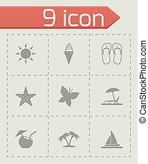 vektor, nyár, állhatatos, fekete, ikonok