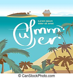 vektor, nyár, fogalom, háttér, sziget, lakás, sziget, tenger, hely, text., személyszállító hajó, tengerpart, távolság, ship., horgonykapák, tenger, cirkálás, tengerpart, karikatúra, táj, illustration.