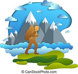 vektor, nyár, gyalogló, vacations., csúcs, természetjárás, hegy, climber., színpadi, szállítás, természet, ábra, magas, háttér., hátizsák, át, pasas, kiránduló, füves táj, ember