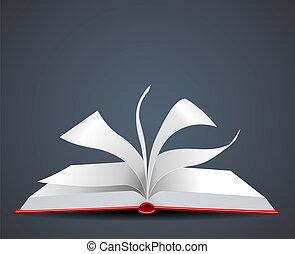 vektor, nyitott könyv, ábra