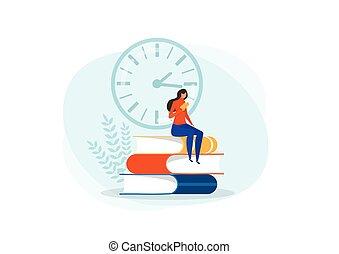 vektor, olvasókönyv, ülés, óriási, books., lakás, olvas, fogalom, ábra, idő, kazal, előjegyez, nő