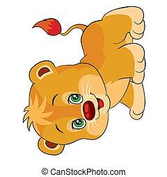 vektor, oroszlán, elszigetelt, csinos, karikatúra, fehér, kevés, cél, betű, háttér, ábra