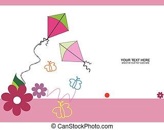vektor, papírsárkány, színes