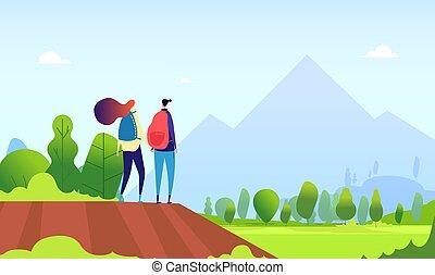 vektor, parkosít., fogalom, természetjárás, természet, túrázik, sportkocsik, párosít., kisasszony, nyár, női, szabadban, természetjáró, karikatúra, ember