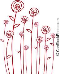 vektor, piros rózsa