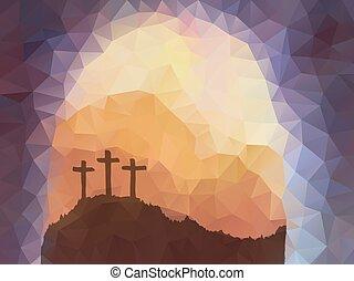 vektor, polygonal, design., színhely, húsvét, cross., christ., jézus